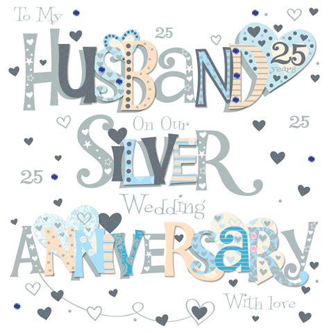 Wedding Anniversary Cards Ebay by Husband Silver 25th Wedding Anniversary Greeting Card 8