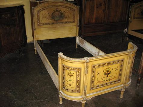 A Decorative Pair Of Antique French Painted Twin Beds For Antique Beds For Sale