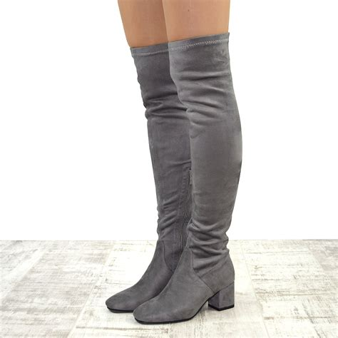 thigh high boots without heel womens the knee cuban low heel biker stretch