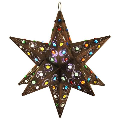 mexican tin lighting collection ixtapa star w marbles