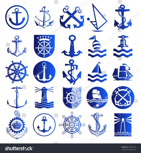 anchor icons set anchor symbols logo stock vector