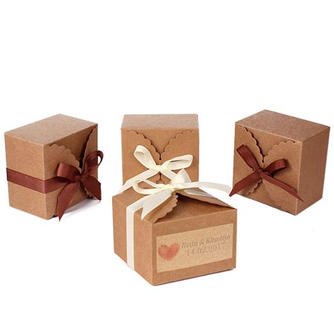 cookie box 48pcs personalized brown kraft paper cookie box bags
