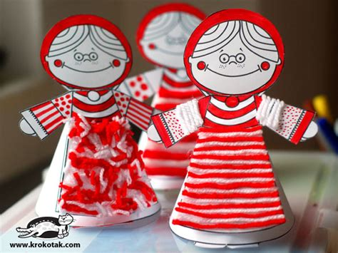 krokotak baba marta krokotak red and white paper dolls