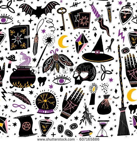 magic pattern background vector magic witch seamless pattern witchcraft background