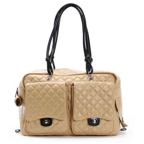 puppy purse alex bag by kwigy bo camel quilted cambon and black designer pet carriers at