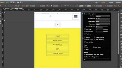 tutorial design mobile website adobe muse tutorial how to create menu for mobile