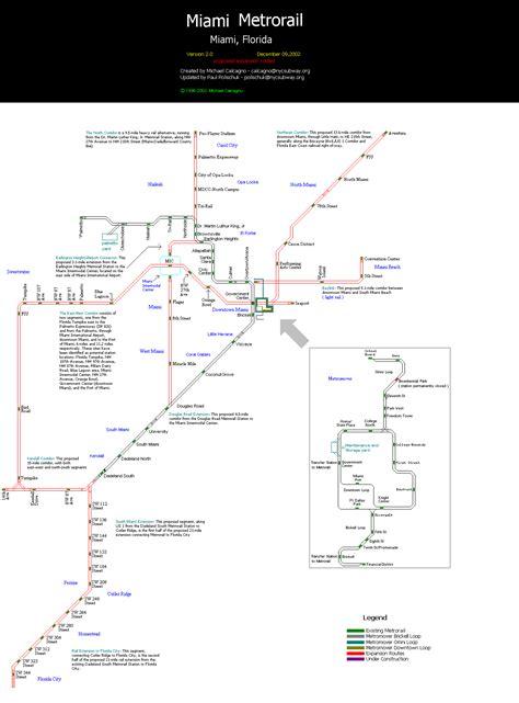 metrorail map miami metro map map