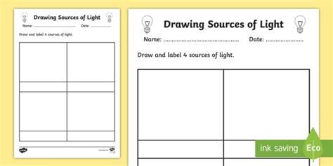 sources of light worksheet worksheet light sources of