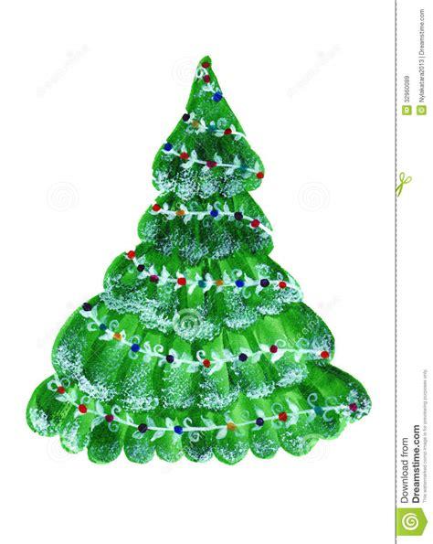 evergreen christmas tree watercolor stock illustration