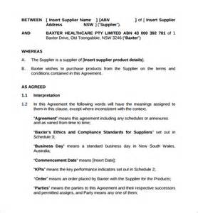 water supply agreement template supply contract template 9 free documents in