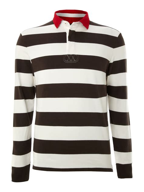 howick scholar block stripe sleeve rugby in white for brown lyst