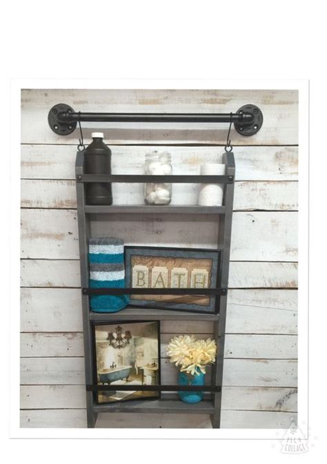 bathroom ladder shelf rustic bathroom shelf industrial