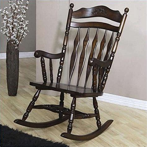 Rocking Chairs In Living Room Brown Wood Rocking Chair With Carved Detail Indoor Nursery
