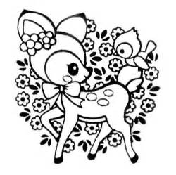 kawaii coloring pages deer st with bird flowers kawaii japan self made
