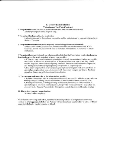 Narcotic Agreement Letter Opioid Management Dependency