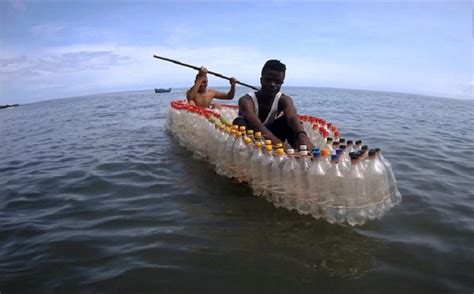 water bottle boat transforming plastic waste into bottle boats in cameroon