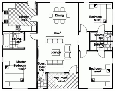 three bedroom bungalow design homes floor plans