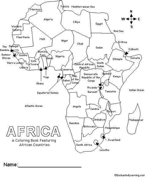 regions of africa map coloring sheet coloring pages