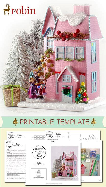 printable christmas houses christmas village printable pattern diy with paper just