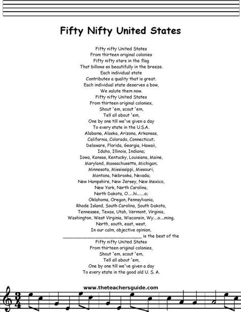 Printable Lyrics 50 Nifty United States | 17 best images about us lesson plans on pinterest bingo