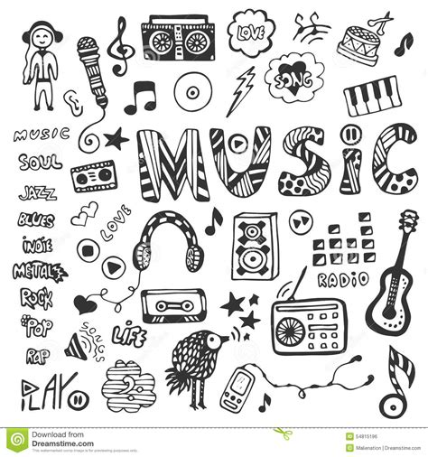 doodle de do song collection with doodles icons set