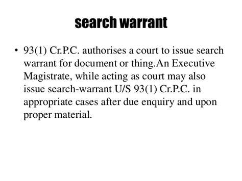 Which Has The Power To Issue Search Warrants Powers And Duties Of Executive Magistrates