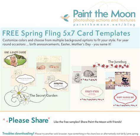 Free 5x7 Card Templates by Free Fling 5x7 Card Template Set From Paint The