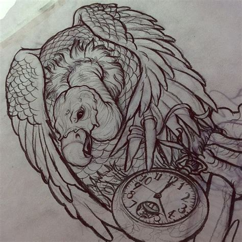 buzzard tattoo designs sketch for upcoming halfsleeve vulture pocketw