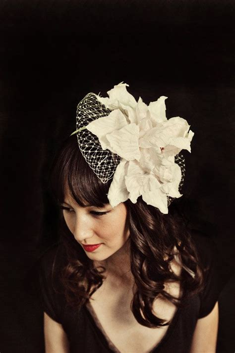 Handmade Bridal Headpieces - mignonne handmade net headpiece black white