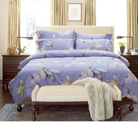 Egyption Cotton Bedding Sets Luxury Blue Purple Lilac Floral Pink Bedding Set Cotton Sheets King Size Quilt