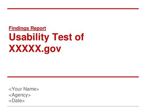 usability test report template usability testing report template