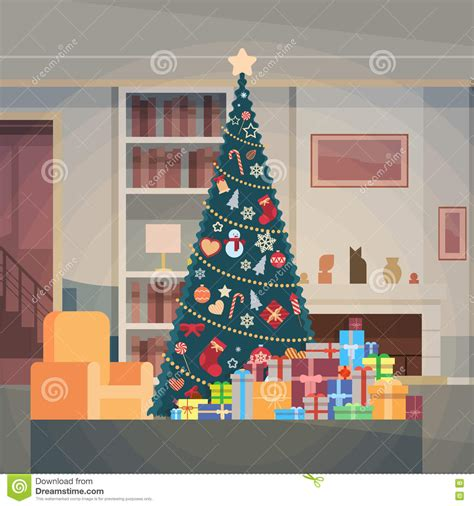 house interiors and gifts christmas green tree with gift box house interior decoration happy new year banner