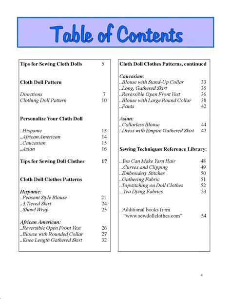 msds table of contents template sle page dolly s best friends sewing for dolls