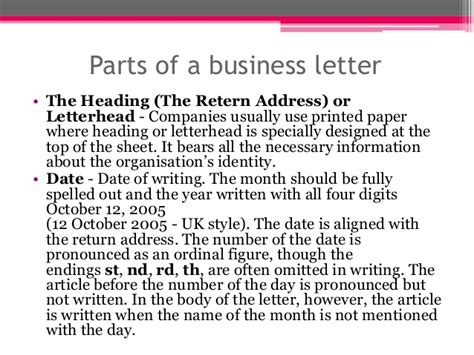 Parts Of Business Letter Slideshare the business letter