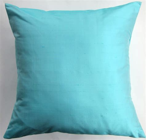 Turquoise Toss Pillows Light Turquoise Silk Pillow Cover Aqua Throw Pillow Cover