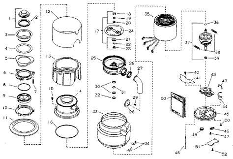 garbage disposal parts diagram kenmore kenmore disposer parts model 6051 sears