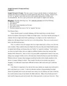 Argumentative Essay Exles For High School by Persuassive Essay