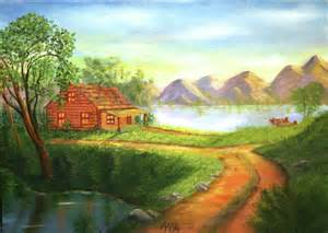 log cabin paintings pictures to pin on pinsdaddy