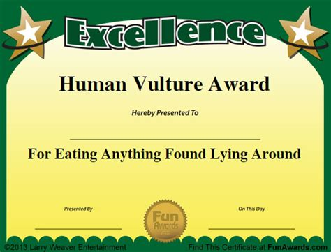 templates for funny awards funny award certificates for employees