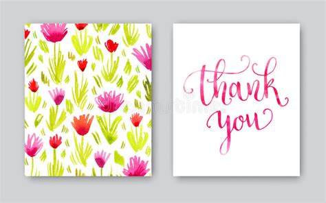 thank you card illustrator template watercolor thank you card template stock illustration