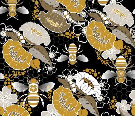wallpaper with gold bees beats n bees floral in black gold silver fabric