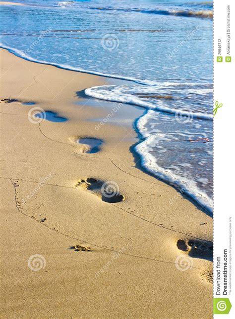 sabbia bagnata orme sulla sabbia bagnata fotografia stock immagine di