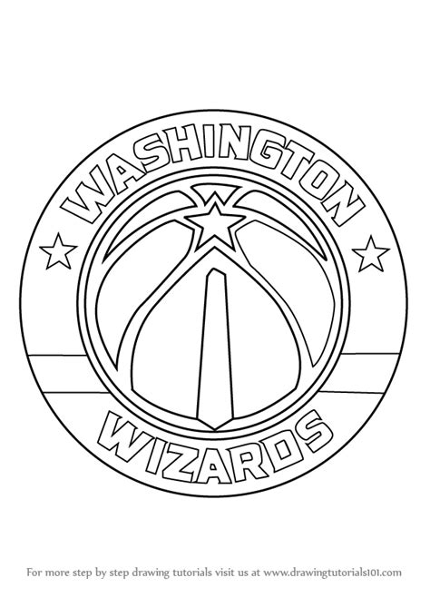 nba wizards coloring pages learn how to draw washington wizards logo nba step by