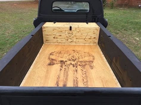wooden truck bed hiding a modern fuel cell in a hand made wooden tool box