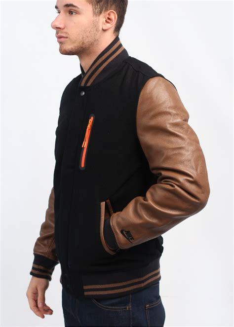Jaket Varsity Brown nike destroyer varsity jacket black brown