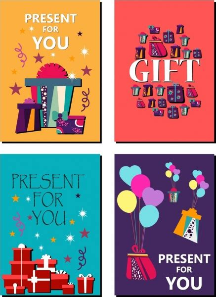 Gift Card Text - gift card background sets colorful symbols text ornament free vector in adobe