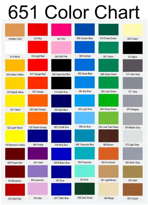 oracal vinyl color chart oracal 651 glossy adhesive vinyl permanent vinyl outdoor