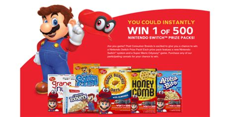 Cereal Sweepstakes - buy cereal win a nintendo switch and super mario odyssey