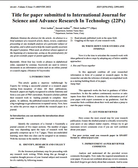 international research paper format ijsart international journal for science and advance