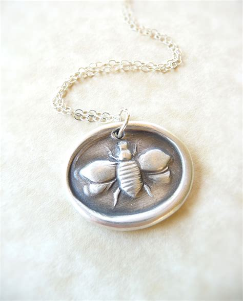 wax jewelry bee wax seal necklace pendant jewelry made from reclaimed